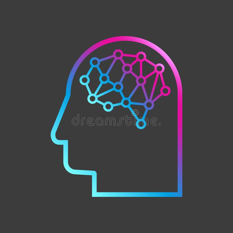 Kunstmatige intelligentie Het beeld van menselijke hoofdoverzichten, de binnenkant waarvan daar een abstracte kringsraad is stock illustratie