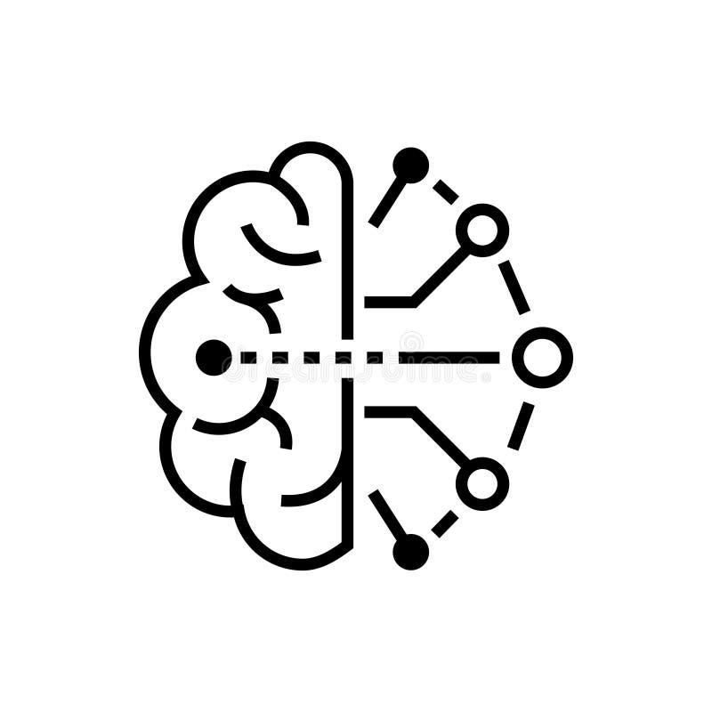 Kunstmatige intelligentie - het enige geïsoleerde pictogram van het lijnontwerp stock illustratie