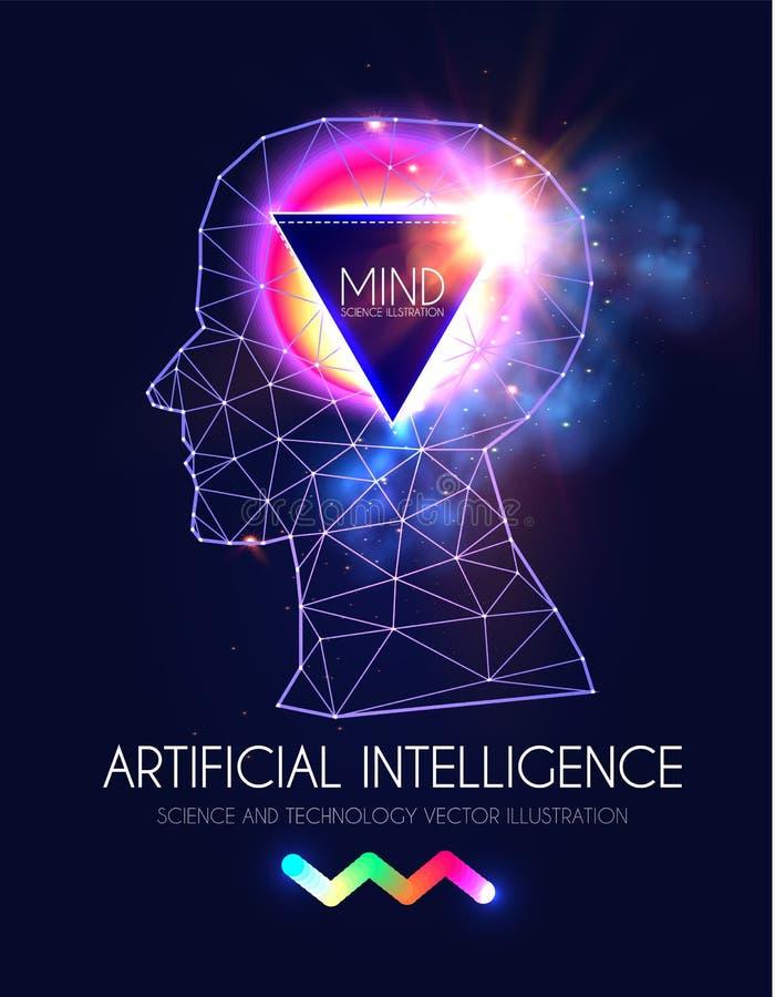 Kunstmatige intelligentie Menselijk Bewustzijn Meningsproces Mens versus Robot Wetenschappelijk Digitaal Ontwerpmalplaatje royalty-vrije illustratie