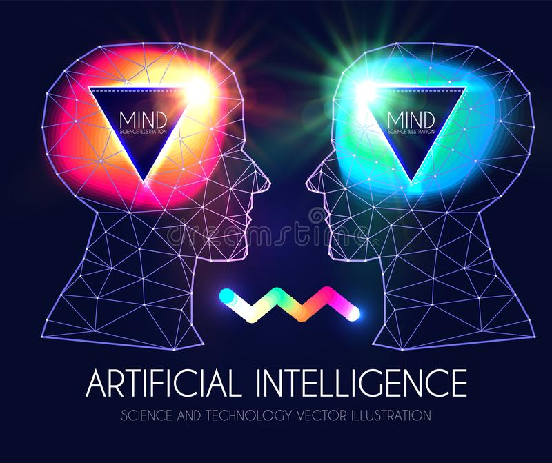 Kunstmatige intelligentie Menselijk Bewustzijn Meningsproces Mens versus Robot Wetenschappelijk Digitaal Ontwerpmalplaatje vector illustratie