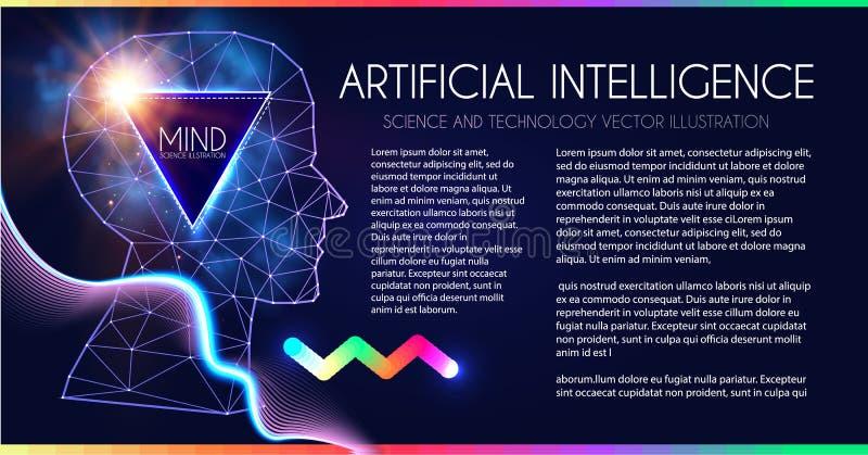 Kunstmatige intelligentie Menselijk Bewustzijn Meningsproces Mens versus Robot Wetenschappelijk Digitaal Ontwerpmalplaatje stock illustratie