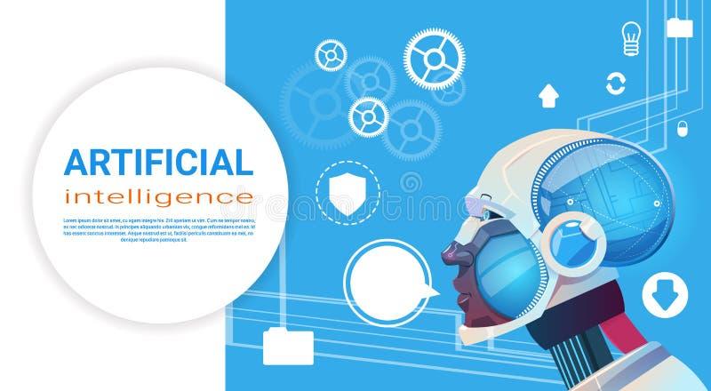 Kunstmatige intelligentie Moderne Robot Brain Technology royalty-vrije illustratie