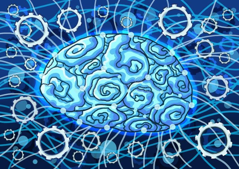 Kunstmatige intelligentie op blauwe verf als achtergrond stock illustratie