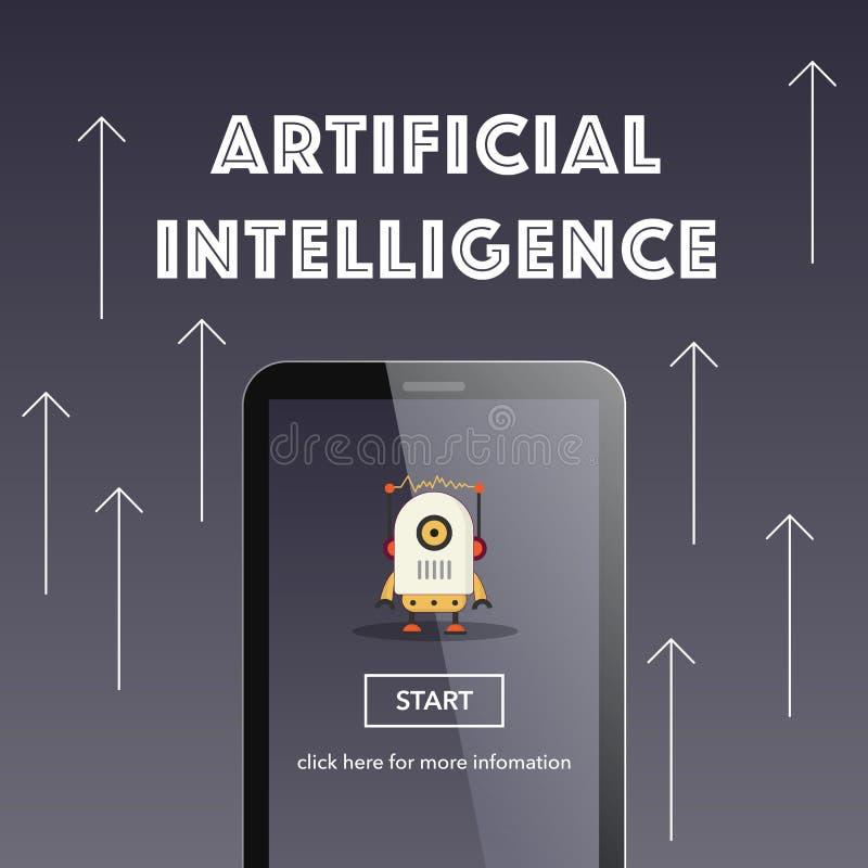 Kunstmatige intelligentie op smartphone stock illustratie