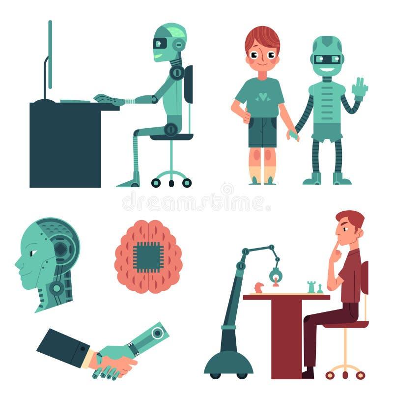 Kunstmatige intelligentie, robot, androïde concept stock illustratie