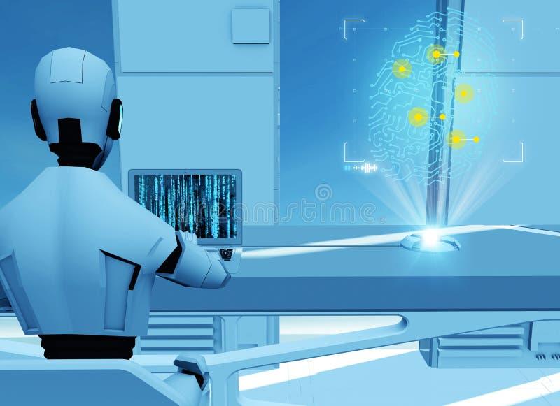 Kunstmatige intelligentie, robot Cyborg op de computer Science fiction sc.i-FI programmering Vingerafdrukhologram vector illustratie