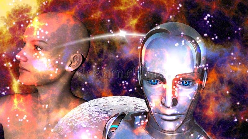 Kunstmatige intelligentie - Robotvrouw met een wijfje wordt verbonden dat royalty-vrije illustratie