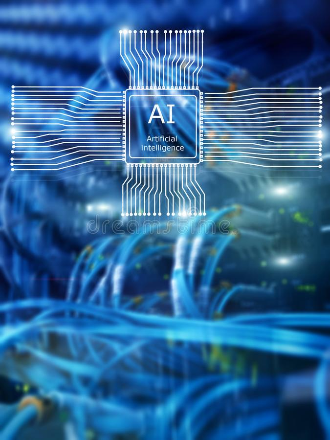 Kunstmatige intelligentie Toekomstige Technologie Communicatienetwerkconcept Vage moderne datacenterachtergrond stock foto