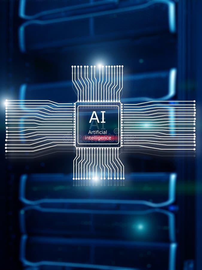 Kunstmatige intelligentie Toekomstige Technologie Communicatienetwerkconcept Vage moderne datacenterachtergrond stock afbeeldingen