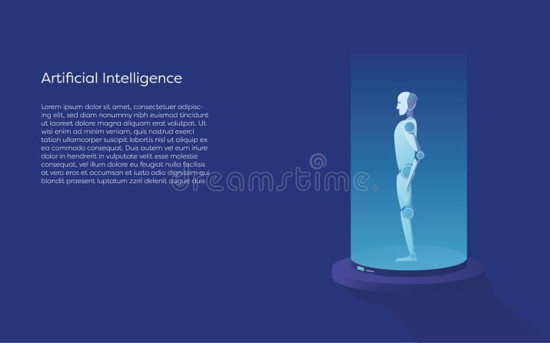 Kunstmatige intelligentie vectorconcept met ai robotverwezenlijking Symbool van technologie, digitale toekomst, innovatie royalty-vrije illustratie