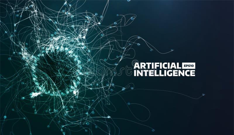 Kunstmatige intelligentie Vectorillustratie De sleep van de onstuimigheidsstroom Futuristische wetenschapsachtergrond Organische  royalty-vrije illustratie