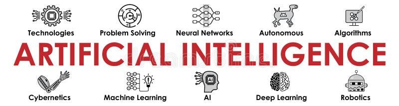 Kunstmatige intelligentiebanner met pictogrammeninzameling stock illustratie