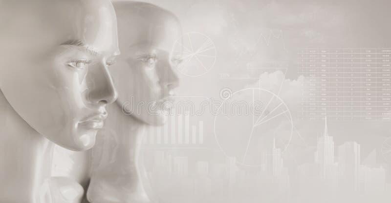 Kunstmatige intelligentieconcept - diagrammen en grafieken royalty-vrije stock afbeeldingen
