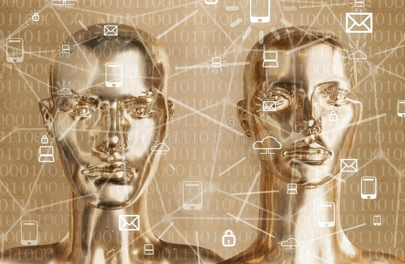 Kunstmatige intelligentieconcept - Internet, netwerk, globalizati stock fotografie