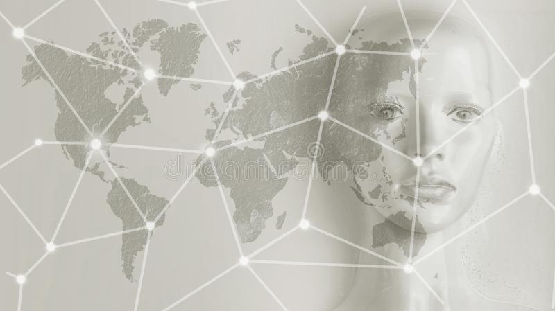 Kunstmatige intelligentieconcept - Internet, netwerk, globalizati stock foto