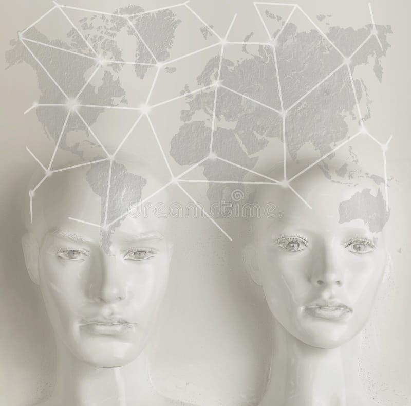 Kunstmatige intelligentieconcept - Internet, netwerk, globalizati stock foto's