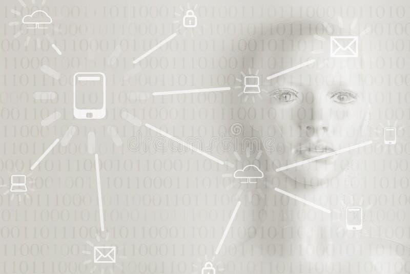 Kunstmatige intelligentieconcept - Internet, netwerk, globalizati royalty-vrije stock fotografie