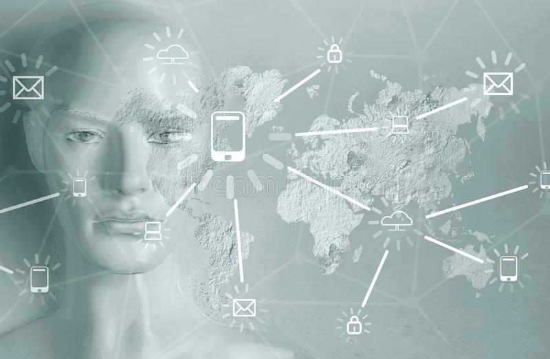 Kunstmatige intelligentieconcept - Internet, netwerk, globalizati stock afbeeldingen