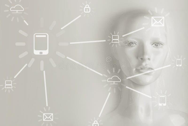 Kunstmatige intelligentieconcept - Internet, netwerk, globalizati royalty-vrije stock foto