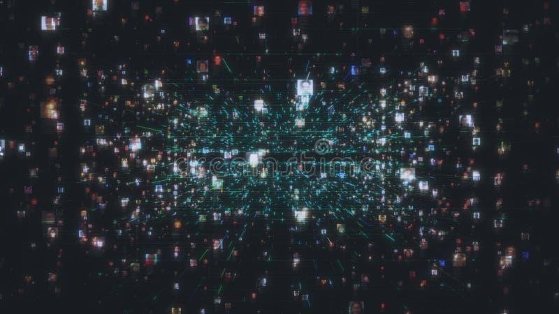 Kunstmatige intelligentieconcept met een sociaal netwerk als donkere stroom van het onherkenbare mensenportretten verbinden vector illustratie