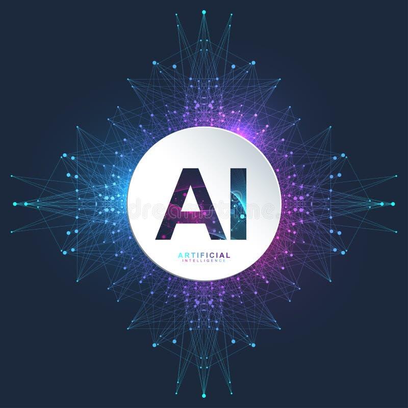 Kunstmatige intelligentieembleem Kunstmatige intelligentie en Machine het Leren Concept Vectorsymbool AI Neurale Netwerken royalty-vrije illustratie
