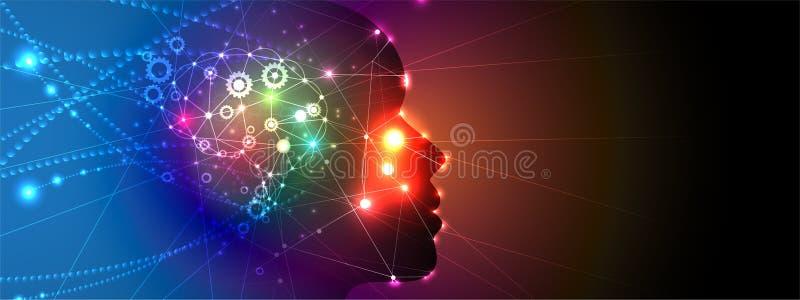 Kunstmatige intelligentievrouw met haar zoals netto neuron De achtergrond van het technologieweb Virtuele conc royalty-vrije illustratie
