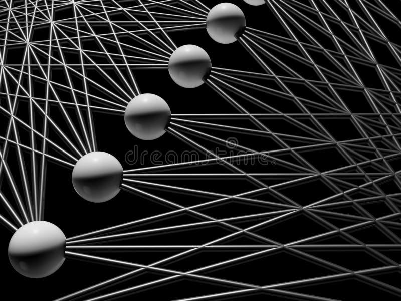 Kunstmatige neurale 3d netwerkstructuur, stock illustratie