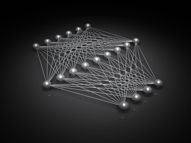Kunstmatige neurale netwerkstructuur in dark vector illustratie