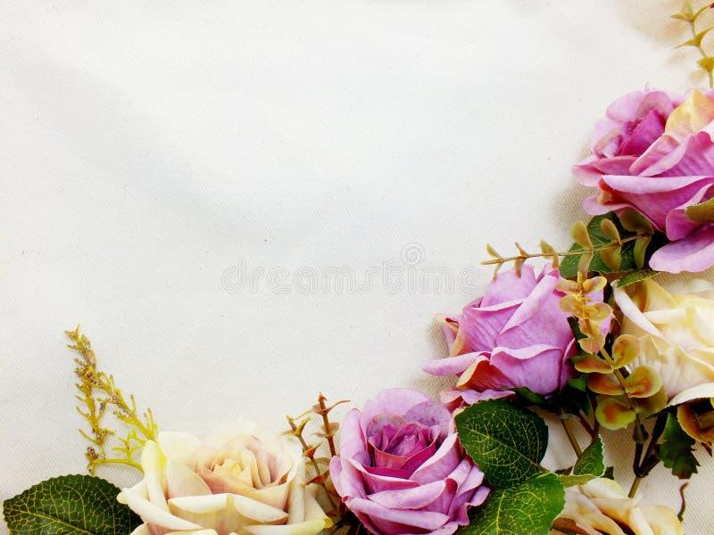 Kunstmatige purper nam bloemen met de ruimteachtergrond van de exemplaargrens toe royalty-vrije stock foto