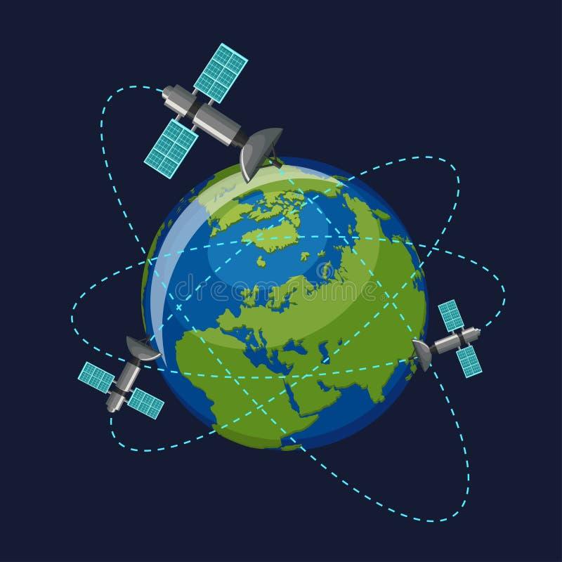 Kunstmatige satellieten die die de aarde in kosmische ruimte cirkelen op donkerblauwe achtergrond wordt geïsoleerd stock illustratie