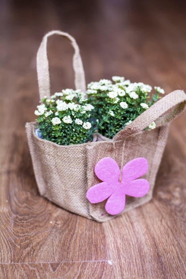 Kunstmatige witte bloemen met roze die giftkaart in canvaszak wordt ingepakt stock foto's