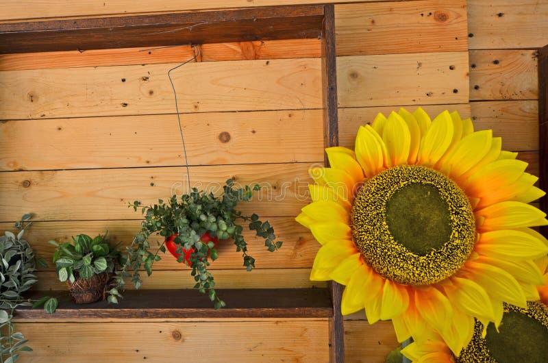 Kunstmatige zonnebloem aan boord van muur royalty-vrije stock foto