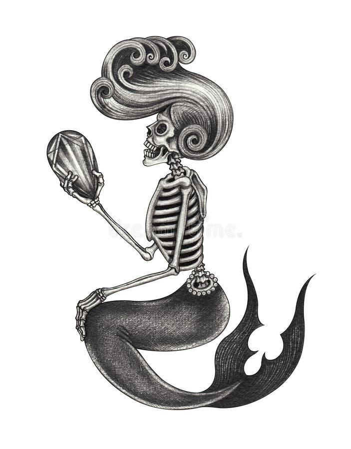 Kunstmeerjungfrauschädel lizenzfreie abbildung