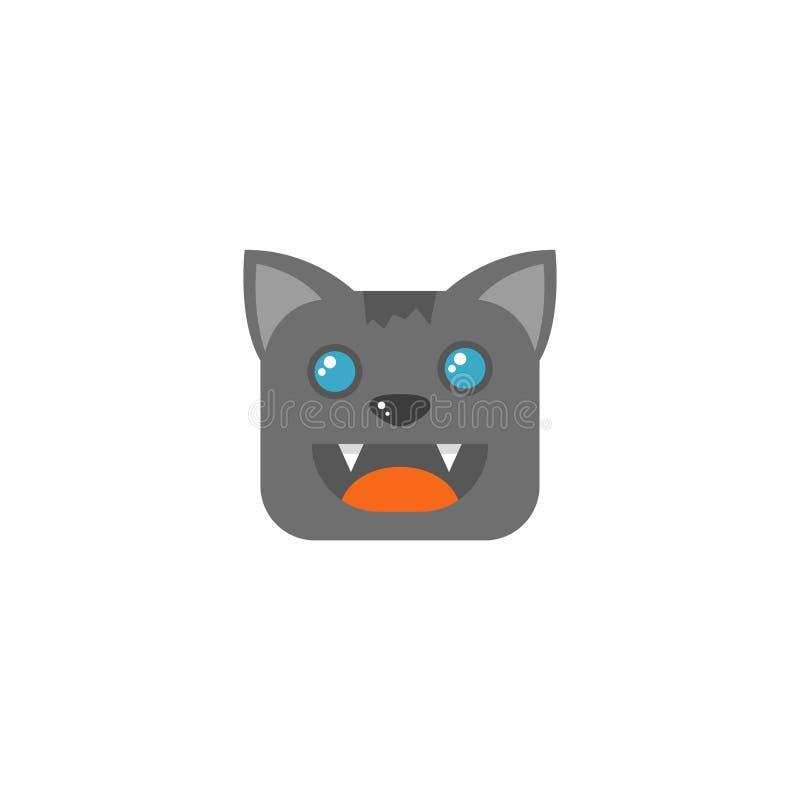 Kunstquadratkarikaturkatzen-Gesichtsikone des einfachen Vektors flache lizenzfreie abbildung