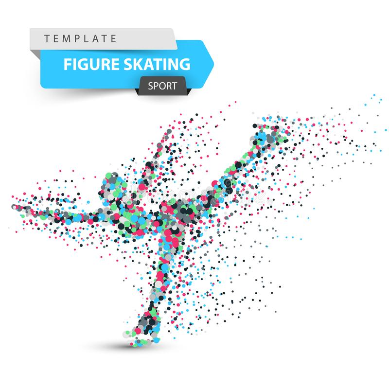 Kunstschaatsen - puntillustratie Sportmalplaatje royalty-vrije illustratie