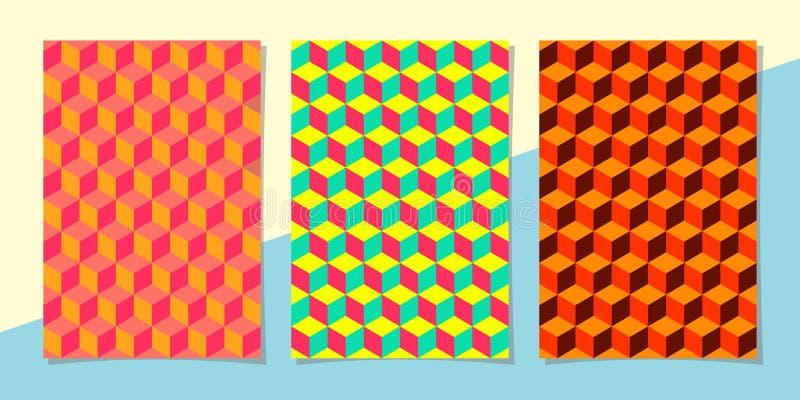 Kunstschablonen-Sommerhintergrund mit hellen Farben, Effekt 3D und geometrischen Elementen vektor abbildung