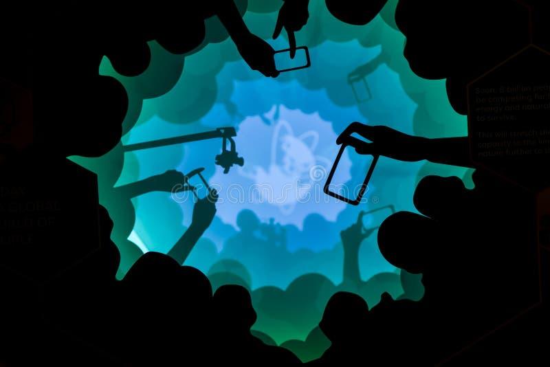 Kunststuk in de Wolkenbos van Singapore stock foto