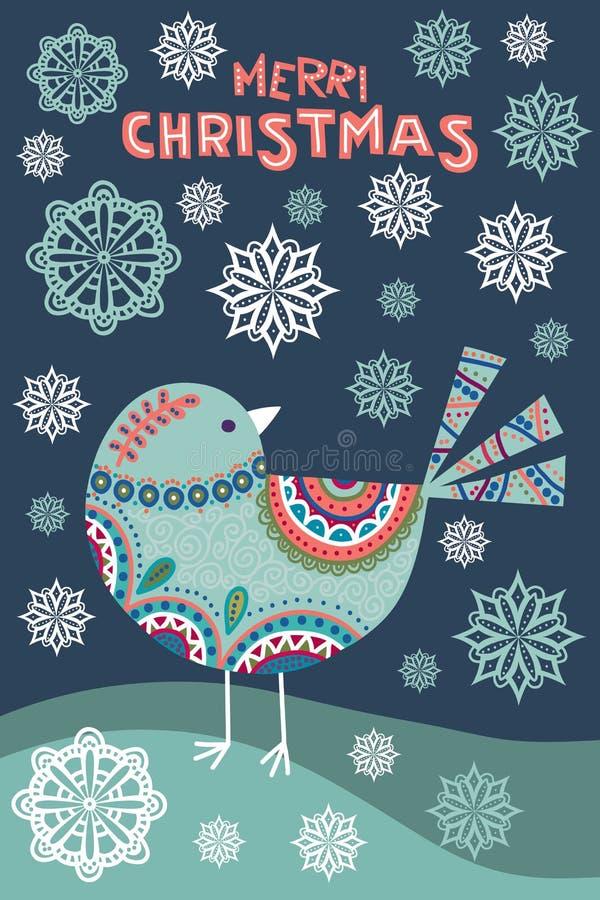 Kunstvektor bunte Weihnachtsillustration mit schönem Vogel und Schneeflocken stock abbildung