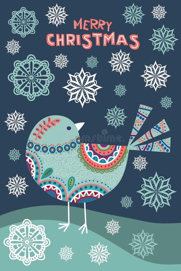 Kunstvektor bunte Weihnachtsillustration mit schönem Vogel und Schneeflocken vektor abbildung