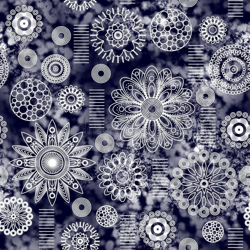 Kunstweinlese stilisierte nahtloses Muster der geometrischen Blumen, monochr lizenzfreie abbildung