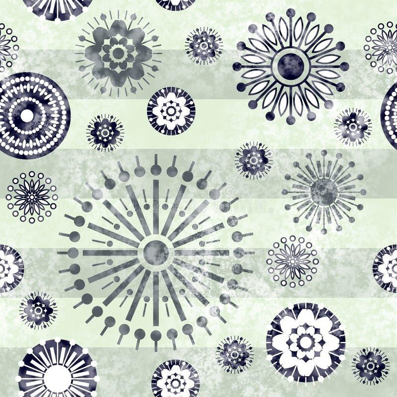 Kunstweinlese stilisierte nahtloses Muster der geometrischen Blumen, monochr vektor abbildung