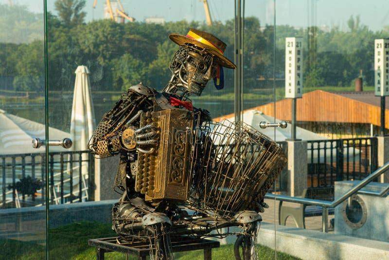 Kunstwerk Industriële mens met harmonika royalty-vrije stock fotografie