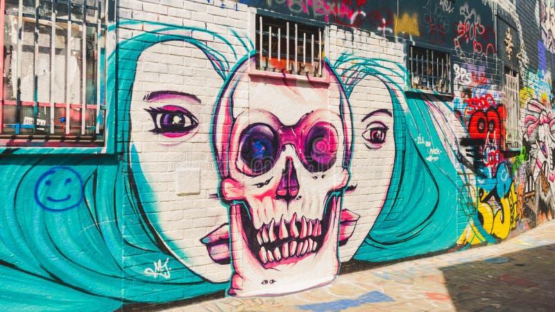 Kunstwerk op Graffitistraat Gent, België royalty-vrije stock foto
