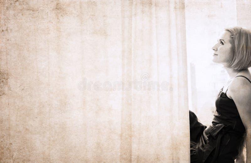 Kunstwerk in uitstekende stijl, vrouw stock fotografie