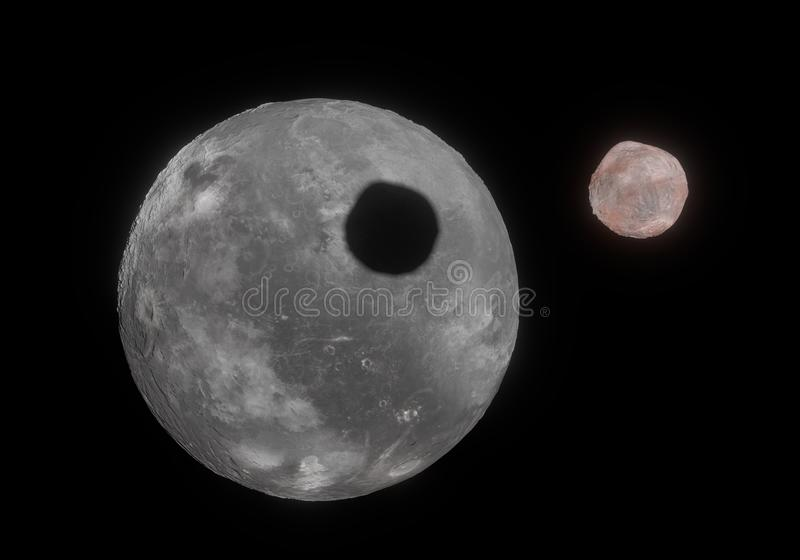 Kunstwerk van de dwergplaneet en uw maan Vanth van Orcus in Kuiper royalty-vrije illustratie