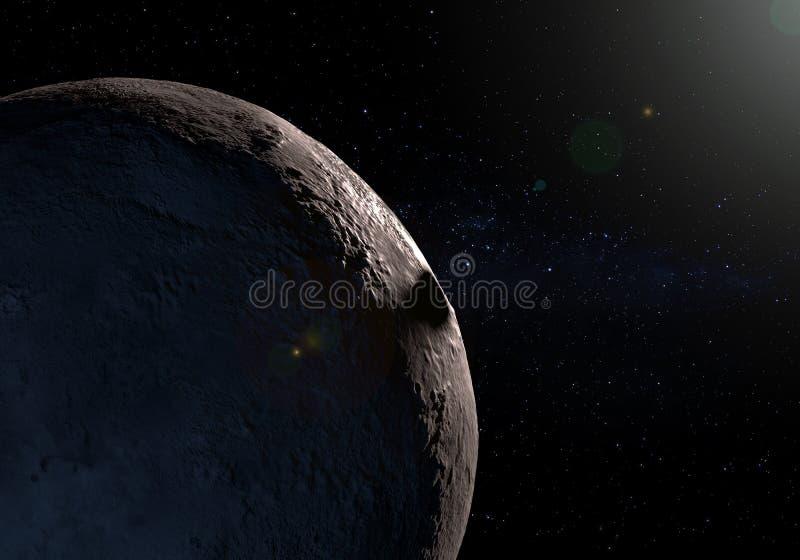 Kunstwerk van de dwergplaneet van Makemake in de Kuiper-riem en de schaduw o royalty-vrije illustratie