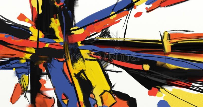 Kunstwerk van de olieverfschilderij het abstracte stijl op canvas stock illustratie