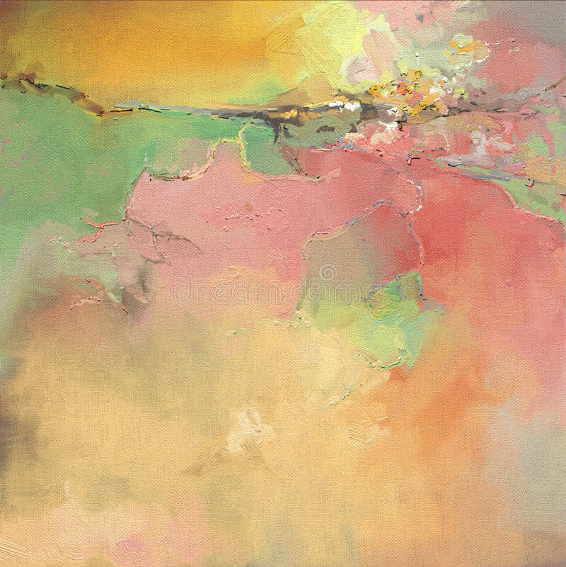 Kunstwerk van de olieverfschilderij het abstracte stijl op canvas royalty-vrije illustratie