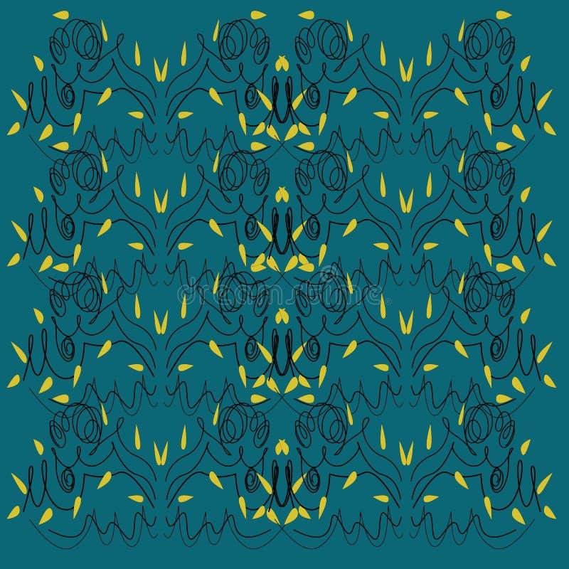 Kunstwerk van Mandalas van het luxeontwerp het groene, blauwe royalty-vrije illustratie
