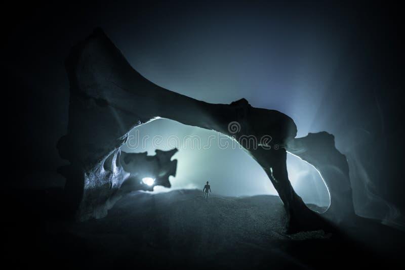 Kunstwerkdecoratie met dierlijk been Silhouet in een ondergrondse verlaten crypt Mens die zich voor een holingang bevindt stock foto's
